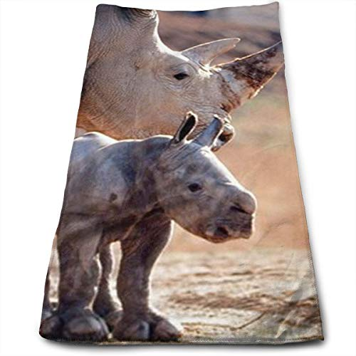 Rhinoceros with Her Baby White Rhino Cool Towel Beach Towel Instant Cool Ice Towel Gym Quick Dry Towel Microfibre Towel Cooling Sports Towel for Golf Swimming Yago Football Beach Garden Holiday