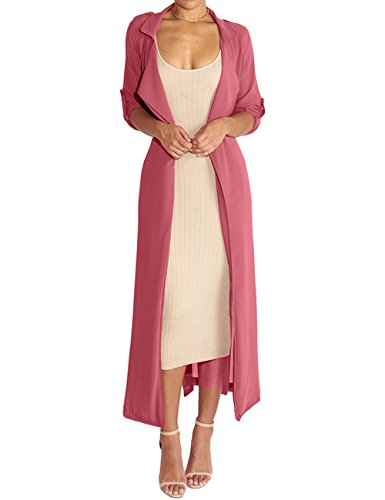 Satin Trench Jacket - Begonia.K Women's Long Sleeve Chiffon Lightweight Maxi Sheer Duster Cardigan, Melon Red, Small