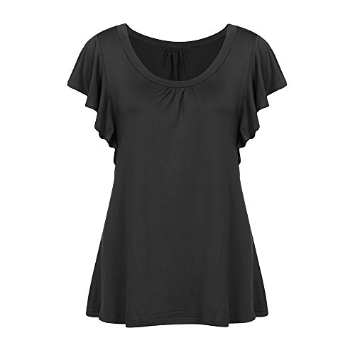Shirt Women's Casual Flowy Blouse Short Sleeve Round Neck Pleated Tops Tee Tunic Chaofanjiancai