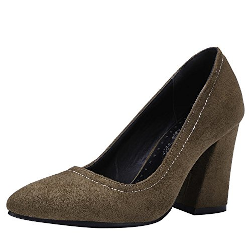 Zapatos De Tacón Grueso De Moda Charm Foot Mujeres Fashion Dark Green