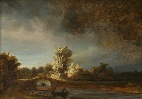 'Rembrandt Harmenszoon Van Rijn-Landscape With A Stone Bridge,1638' Oil Painting, 16x23 Inch / 41x58 Cm ,printed On High Quality Polyster Canvas ,this Reproductions Art Decorative Prints On Canvas Is Perfectly Suitalbe For Kitchen Artwork And Home Decor And Gifts