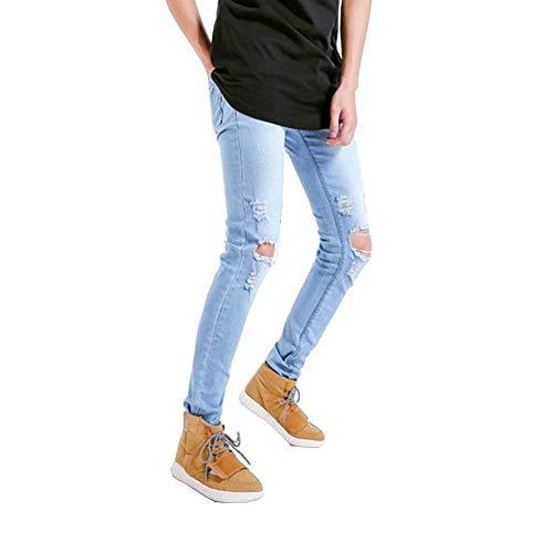 Jeans Hellblau14 Fashion Holes Comode Distrutto Taglie Uomo Pantaloni Stretch Abiti Slim Biker Strappato Fit Vintage wRqH6ttg1