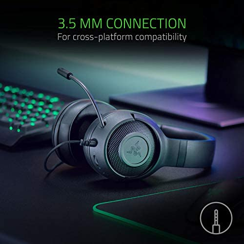 Razer Kraken X Ultralight Gaming Headset: 7.1 Surround Sound - Lightweight Aluminum Frame - Bendable Cardioid Microphone - PC, PS4, PS5, Switch, Xbox One, Xbox Series X & S, Mobile - Black