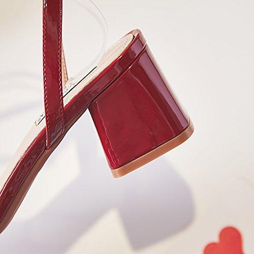 tacco trasparente con Sandali alto estate semplice punta donna da tacco comodi moda aperta sandali cinturino YMFIE a A quadrato antiscivolo x18wq5dY1