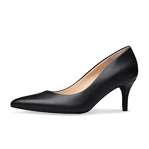On Slip Pumps Classic Lady Xielong Women's Middle Business Shoes Toe Pointed Black Heels Office P0BqaqYS