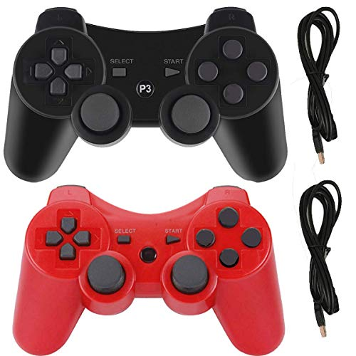 Molgegk Wireless Controllers For PS3 Playstation 3 Dualshock Six-axis, Bluetooth Remote Gaming Gamepad Joystick Includes USB Cable (Black and Red, Pack of 2) (Six Button Ps3 Controller)