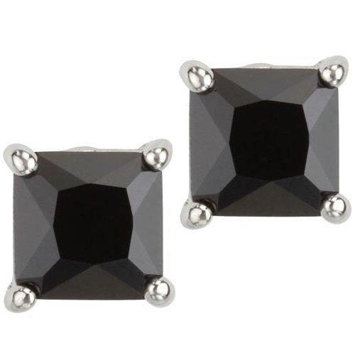 7b51f6aed Body Fashion Surgical Steel Choice of 7 Sizes Square Basket Set Black Crystal  Diamond Mens Stud Earrings