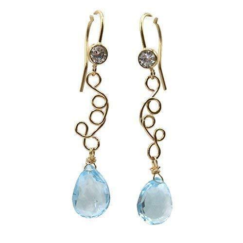 Fine Blue Topaz Dangle Earrings | Genuine Gemstone Jewelry Sale | Anniversary Birthday Gifts For Mom | 1.75 Inch