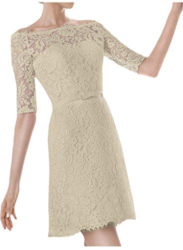 Brautkleid Ivydressing Ausschnitt Champagner Aermel Abendkleid U Hochzeitskleid Halb Damen Kurz 0Hqr70w