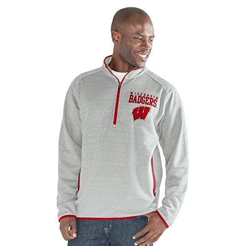 G-III Sports NCAA Wisconsin Badgers Men's 1 On 1 Quarter Zip Fashion Top, Heather Grey, XX-Large