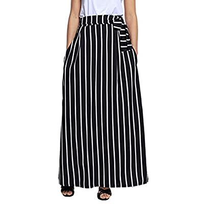 Women Casual Striped Ankle-Length Chiffon Pocket Lace-Up Vintage Long Maxi Skirt