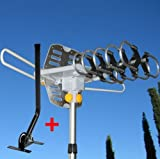 (Appizz) (150) MILES OUTDOOR TV ANTENNA MOTORIZED AMPLIFIED HDTV W/MOUNTING POLE