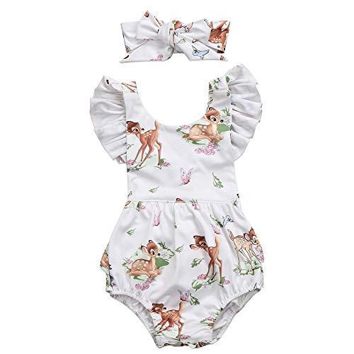 KOROTUS COLLECTION Sleeveless Ruffle Romper Jumpsuit Newborn Baby Girl Clothes 2PCS Cute Deer Toddler Bodysuit