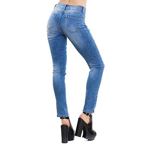 Curvy Elasticizzati Aderenti Pantaloni Jeans Donna Blu K5904 Skinny Push Toocool Slim Up RnX4zqR7Tx