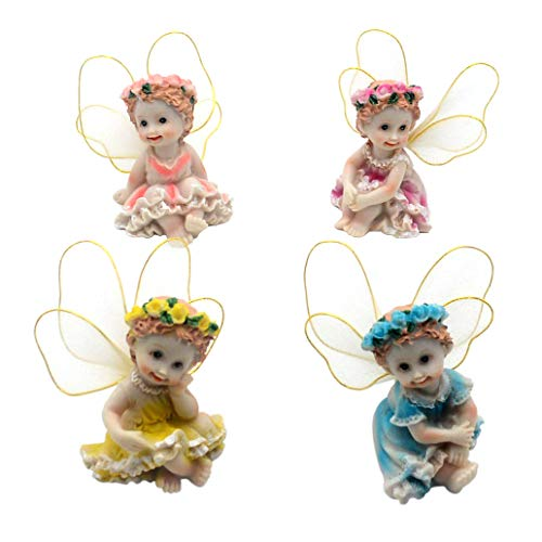 - 4 Pieces Fairy Garden Figurines Kit-Miniature Hand Painted Collectible Angels for House Office Outdoor Decor (Sitting)