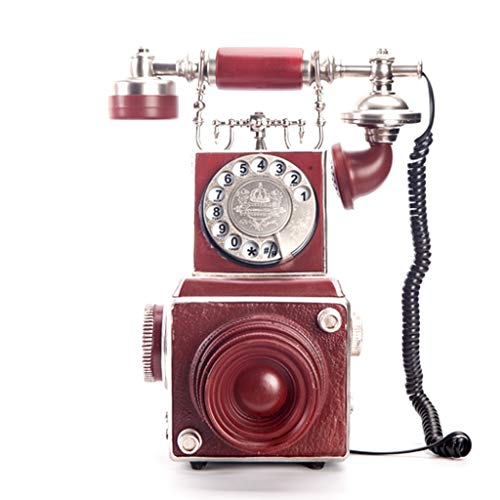 Hzpxsb Retro Camera Phone Wired Home Antique Landline Vintage Rotary Dial Carousel (Wall Mount Rotary Dial Phone)