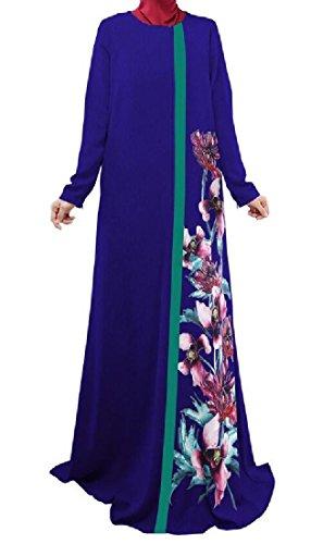 Confortables Slim Femme Musulmane Abaya Imprimé Dinde Bleu Robe À Manches Longues