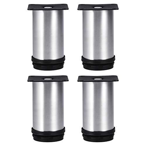 (Tinksky Metal Furniture Legs Kitchen Adjustable Feet Round Furniture Legs- 4pcs(Silver))