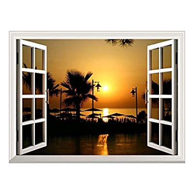Removable Wall Sticker/Wall Mural - Majestic Tropical Scenery at Sunset | Creative Window View Wall Decor - 36