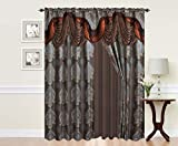 VICTORIAVILLE Signature Alexandra Curtain Set, Brown, 60″ L X 84″ W Inches, Set of 2 For Sale