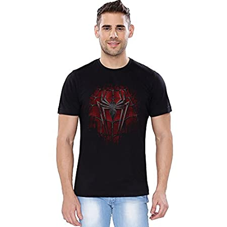 The Souled Store Marvel Spiderman Crest Superhero Cotton T-Shirt for Mens from