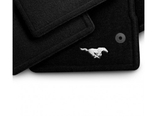- Ford Mustang Floor Mats - Carpeted, Front 2-pc Driver Dual Button, Black, with Pony Logo