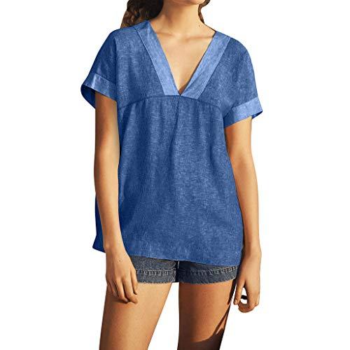 YEZIJIN Women V-Neck Splicing Pure Color Short Sleeve Tops Blouses Casual Shirt 2019 Under 10 Dollars Navy]()