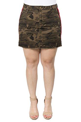 Stripe Raw Edge - TwiinSisters Women's Sporty Side Stripe Denim Skirt with Raw Edge Hem