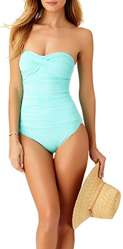 Anne Cole Women's Twist Front Shirred One Piece Swimsuit, Turquoise, 12 ()