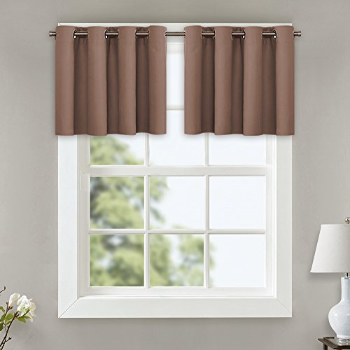 NICETOWN Blackout Curtains for Small Window - Grommet Top Window Treatment Blackout Panel Drapes for Bedroom (Cappuccino, 2 Pcs, W52 x L18 + 1.2 Inches Header)