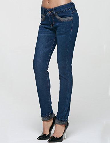 Foderato Pantaloni Mia Flanella Fit Inverno Slim Skinny Blau Jeans Donna Camii aZxznqwEw