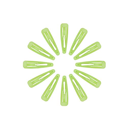 Marilyn Faye's Stainless Steel Hair Clips Snap Barrettes for Girls Toddlers Kids Women (Set of 12) (Neon Green)]()
