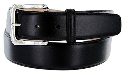Valley View Men's Designer Leather Dress Belt (Smooth Black, (Calfskin Belt)