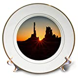 3dRose Mike Swindle Photography - Landscapes - Desert Sunrise - 8 inch Porcelain Plate (cp_293128_1)