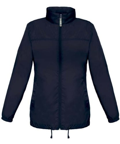 B&C Scirocco Windbreaker, Outdoor Regenjacke für Damen. Größen XS, S, M, L, XL, XXL, 10 Farben, Größe:L;Farbe:Black