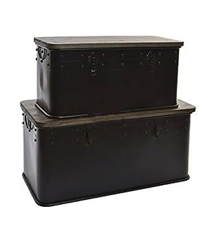 Wadiga Set 2 Aufbewahrungsbox Aus Metall Schwarz Und Holz Amazon