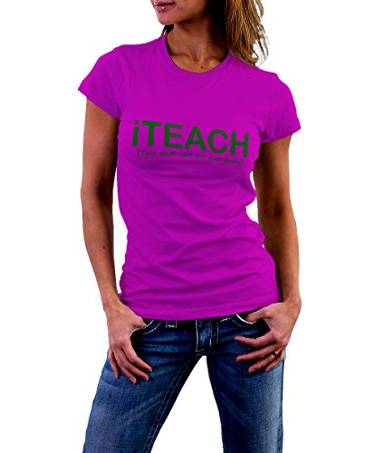 Se7en the Poet Women's iteach T-Shirt Pink/Green (Small)