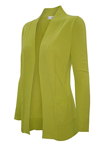 CIELO Women's Solid Basic Open Front Pockets Knit Sweater Cardigan Lime M