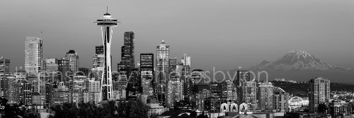 Seattle Skyline PHOTO PRINT UNFRAMED Dusk BW Black & White C