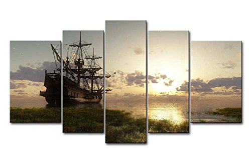5 Panel Wall Art Painting Fantasy Ship Sail Boat In Lake Sunset Prints On Canvas The Picture Seascape Pictures Oil For Home Modern Decoration Print Decor