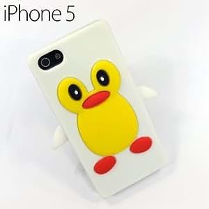 OnlineBestDigital - iPhone 5 Penguin Style Silicone Skin Case / Cover / Shell - White