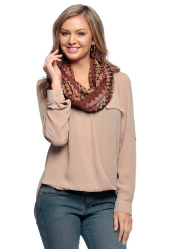 Chevron Multicolored Zigzag Knitted Loop Scarf Available in Many Colors (Rust)