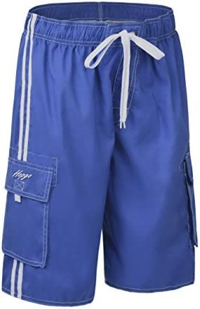 Hopgo Mens Quick Dry Beach Short Solid Color Boardshorts Swim Trunks with Mesh Lining