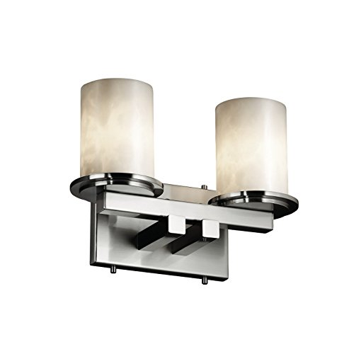 Justice Design Group Clouds 2-Light Bath Bar - Brushed Nickel Finish with Clouds Resin Shade ()