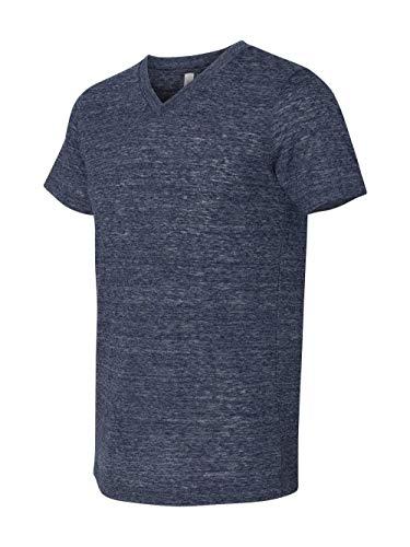 Bella Canvas Men's Jersey Short Sleeve V-Neck Tee, Navy Slub, ()