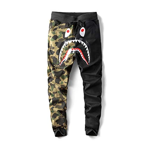 Japan Men's BAPE A Bathing Ape Shark Head Camo Casual Jogging Pants Sweatpants (Black, L)