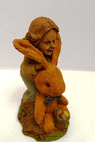 "Tom Clark Gnomes Rare 1990""Bunny Figurine of Lady on The Back of Large Bunny Rabbit with Basket of Eggs Made in USA"