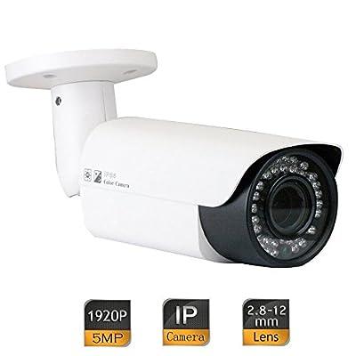 GW Security 5 Megapixel 2592 x 1920 Pixel Super HD 1920P Outdoor PoE 120FT Night Vision Weatherproof Security IP Camera with 2.8-12mm Varifocal Zoom Len by GW Security