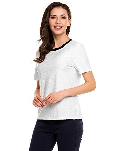 Zeagoo Women Wave Printed Tee Short Sleeve Casual T-shirt Tops (White,S)