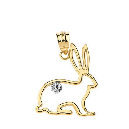 - Fashion 14k Yellow Gold Diamond Outline Bunny Pet Rabbit Charm Pendant